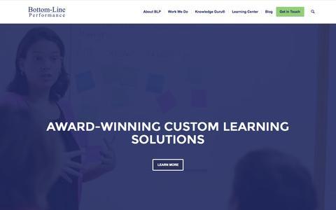 Screenshot of Home Page bottomlineperformance.com - Custom eLearning and Instructional Design - captured Nov. 3, 2015