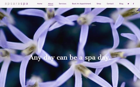 Screenshot of About Page apsaraspa.com - About | Apsara Spa - captured Oct. 29, 2014
