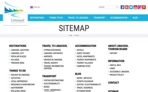 Screenshot of Site Map Page limassoltourism.com - Sitemap | Limassol Tourism Development & Promotion Company - captured Sept. 28, 2018