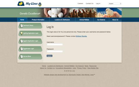 Screenshot of Login Page hyline.com - Hyline: Login,chickens,genetics,poultry,eggs,diseases,technology,breeds,farming,egg production - captured Sept. 30, 2018