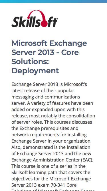Microsoft Exchange Server 2013 - Core Solutions: Deployment