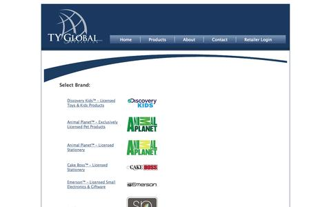 Screenshot of Products Page tyglobal.ca - TY Global Corporation - captured Oct. 6, 2014