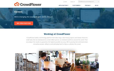 Screenshot of Jobs Page crowdflower.com - CrowdFlower | Careers - captured July 20, 2014