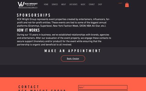 Screenshot of Services Page kckwright.com - KCK Wright Group Sponsorships - captured Oct. 23, 2018