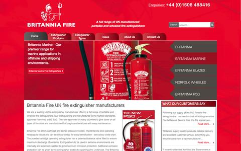 Screenshot of Home Page britannia-fire.co.uk - Britannia Fire | UK manufacturer of portable and wheeled fire extinguishers - captured Oct. 5, 2014