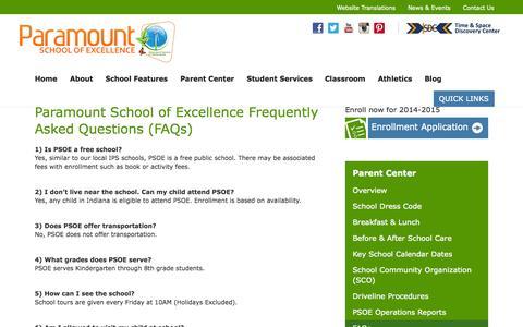Screenshot of FAQ Page paramountindy.org - FAQs - Paramount Indy - captured Oct. 1, 2014