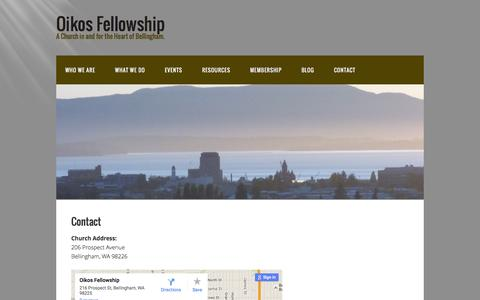 Screenshot of Contact Page oikosfellowship.org - Contact – Oikos Fellowship - captured Feb. 21, 2016