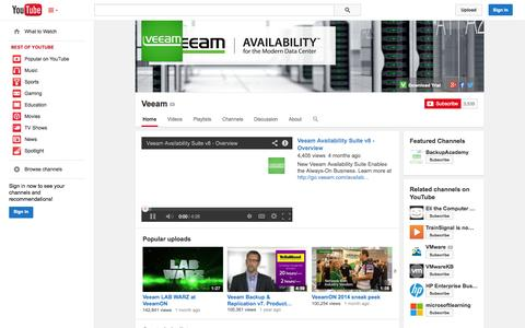 Screenshot of YouTube Page youtube.com - Veeam  - YouTube - captured Oct. 22, 2014