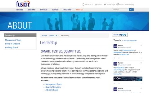 Screenshot of Team Page fusionconnect.com - Leadership | Fusion (FSNN) - captured May 10, 2017