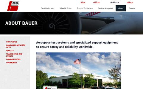 Screenshot of About Page bauerct.com - About Bauer: Aviation test equipment & support equipment | Bauer, Inc. - captured Oct. 5, 2018