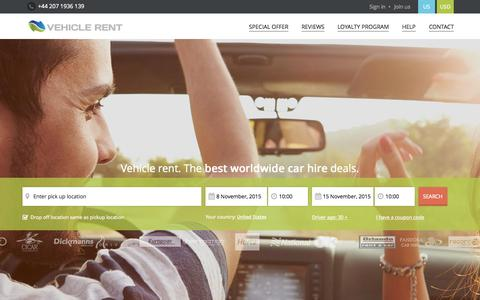 Screenshot of Home Page vehicle-rent.com - Vehicle Rent - the best worldwide car rental deals on web - captured Nov. 3, 2015