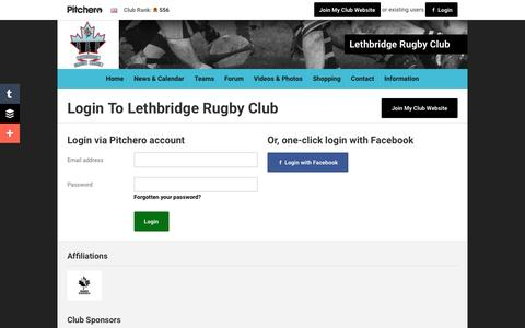 Screenshot of Login Page pitchero.com - Lethbridge Rugby Club - captured June 13, 2016