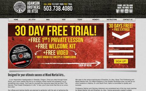 Screenshot of Home Page orbjj.com - Seaside Jiu Jitsu - 30 Days FREE! - captured Oct. 7, 2014