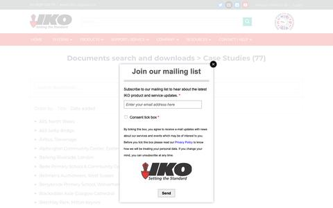Screenshot of Case Studies Page ikogroup.co.uk - IKO – Documents Search and Downloads – Access To What You Require - captured Sept. 27, 2018