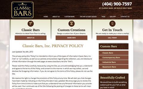 Screenshot of Privacy Page classicbars.net - Privacy Policy | Atlanta Custom Bars - captured Aug. 3, 2017