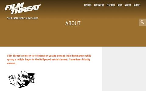Screenshot of About Page filmthreat.com - About | Film Threat - captured Sept. 15, 2019