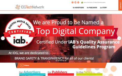 Screenshot of Home Page idgtechnetwork.com captured Sept. 19, 2014
