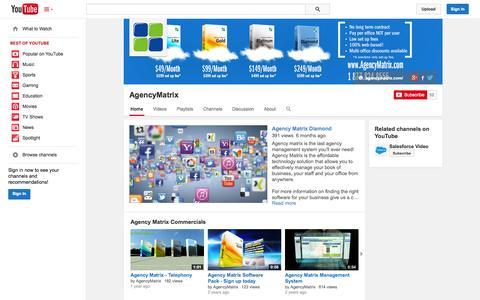 Screenshot of YouTube Page youtube.com - AgencyMatrix  - YouTube - captured Oct. 23, 2014
