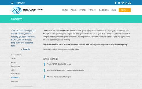 Screenshot of Jobs Page smbgc.org - Careers | Boys & Girls Clubs of Santa Monica - captured Nov. 3, 2014