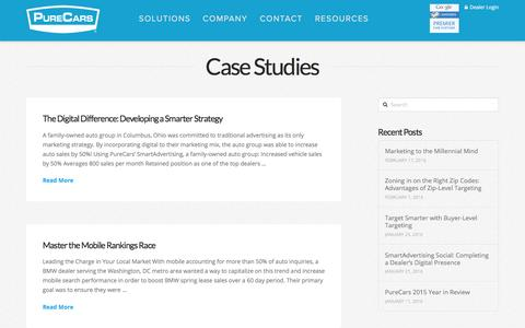 Screenshot of Case Studies Page purecars.com - Case Studies Archives - PureCars - captured March 7, 2016