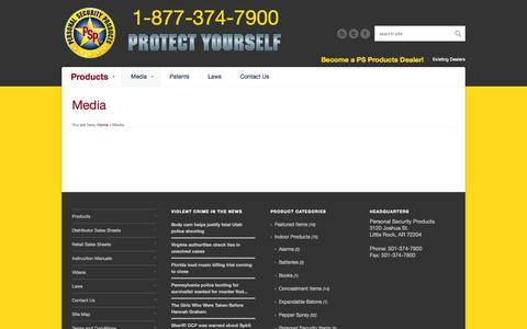 Screenshot of Press Page psproducts.com - Media | Personal  Security Products - captured Oct. 2, 2014
