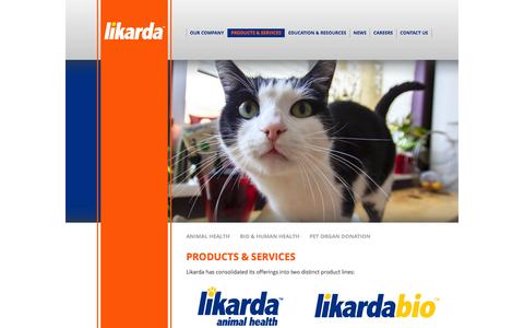 Screenshot of Products Page likarda.com - Products & Services | Likarda - captured Oct. 3, 2014