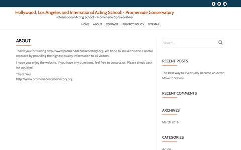 Screenshot of About Page promenadeconservatory.org - About - Hollywood, Los Angeles and International Acting School - Promenade Conservatory - captured Dec. 1, 2016