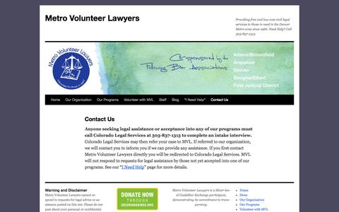 Screenshot of Contact Page metrovolunteerlawyers.org - Contact Us | Metro Volunteer Lawyers - captured Oct. 27, 2014