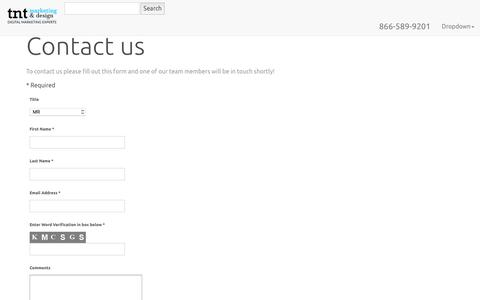 Screenshot of Contact Page tntmd.com - Contact Us - captured Nov. 15, 2017
