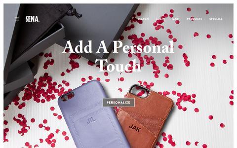 Screenshot of Home Page FAQ Page senacases.com - SENA | Premium Leather iPhone Cases & iPad Cases - captured Feb. 16, 2016