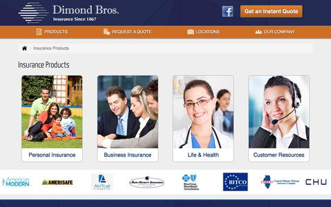 Screenshot of Products Page dimondbros.com - Insurance Products in Illinois - Dimond Bros. Insurance, LLC - captured Nov. 5, 2017