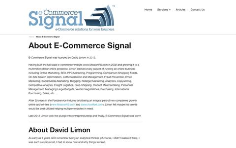 Screenshot of About Page ecommercesignal.com - About E-Commerce Signal - captured Sept. 26, 2014