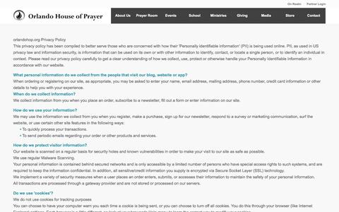 Screenshot of Privacy Page orlandohop.org - Privacy Policy - Orlando House of Prayer - captured Feb. 14, 2016