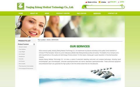 Screenshot of Services Page zl-pharm.com - SERVICES - Zelang - captured Oct. 27, 2014