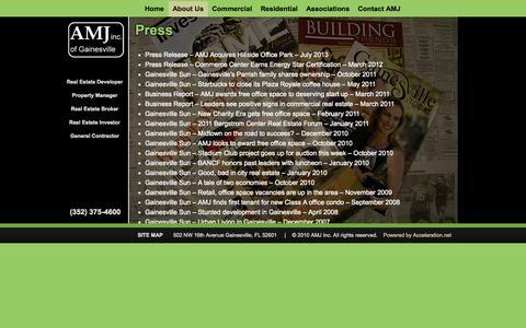 Screenshot of Press Page amjinc.com - AMJ Inc of Gainesville Press   AMJ Inc. of Gainesville - captured Oct. 4, 2014