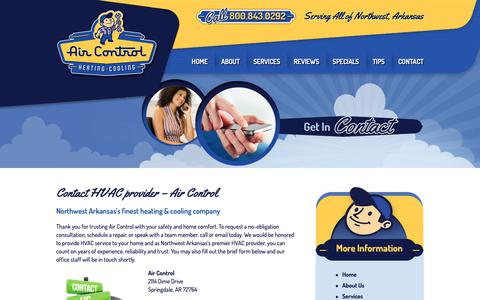 Screenshot of Contact Page aircontrolcorp.com - Schedule a HVAC Repair | Contact Air Control in Northwest AR - captured Nov. 12, 2018
