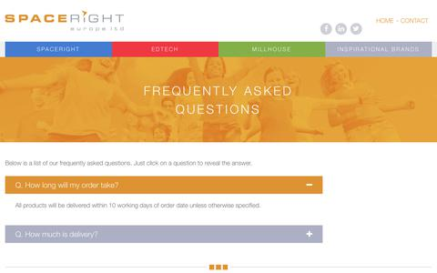 Screenshot of FAQ Page spacerighteurope.com - FAQs | Spaceright Europe Ltd - captured Sept. 27, 2018