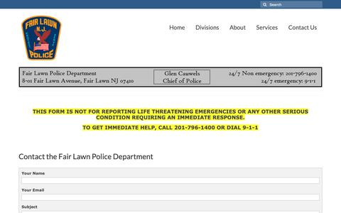 Screenshot of Contact Page fairlawnpd.com - Contact Us – Fair Lawn Police Department - captured Oct. 10, 2018