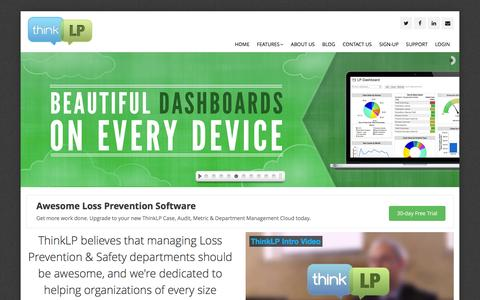 Screenshot of Home Page thinklp.com - Case Management & Audit Software � LP Software & Safety Suite - captured Jan. 12, 2016