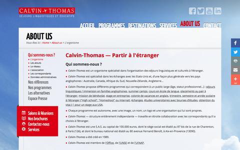 Screenshot of About Page calvin-thomas.com - Partir à l'étranger avec l'organisme Calvin-Thomas - captured March 18, 2018