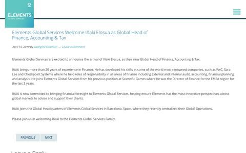 Screenshot of Services Page elementsgs.com - Elements Global Services Welcome Iñaki Elosua as Global Head of Finance, Accounting & Tax | ELEMENTS GLOBAL SERVICES - captured Jan. 20, 2020