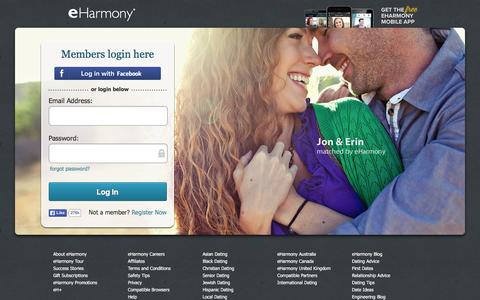 Screenshot of Login Page eharmony.com - eHarmony | Log-In to Our Online Dating Site for Local Singles - captured Dec. 2, 2015