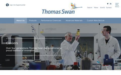Screenshot of Jobs Page thomas-swan.co.uk - Careers | Thomas Swan | Global Chemical Manufacturing - captured Oct. 21, 2018