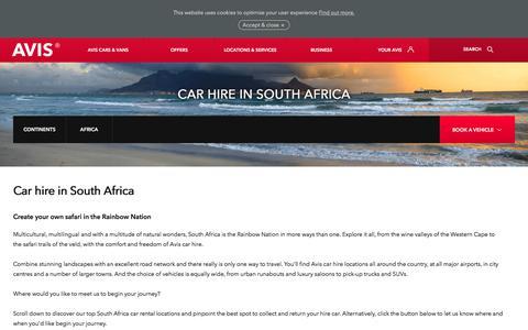 Screenshot of avis.co.uk - Car Hire South Africa | Avis UK - captured July 16, 2017