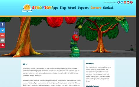 """Screenshot of Jobs Page storytoys.com - StoryToysâ""""¢ Kid's Games & Apps   Careers & Available Jobs - captured Nov. 27, 2016"""