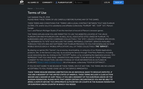 Screenshot of Terms Page plarium.com - Terms of Use | Plarium.com - captured Nov. 2, 2019