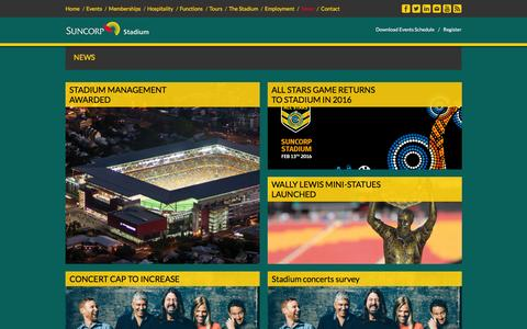 Screenshot of Press Page suncorpstadium.com.au - Suncorp Stadium :: News - captured Jan. 14, 2016