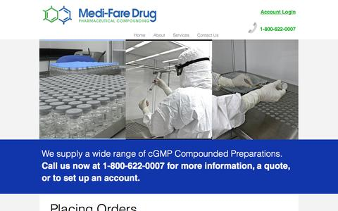 Screenshot of Login Page medifaredrug.com - FDA-registered 503B Outsourcing Facility Compounding | Ordering - captured Nov. 19, 2016