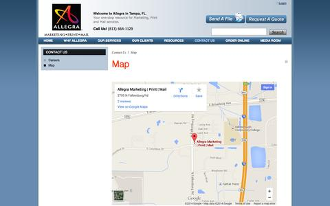 Screenshot of Maps & Directions Page allegratampa.com - Allegra Tampa | Marketing · Print · Mail | Map : Contact Us - captured Oct. 4, 2014