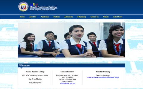 Screenshot of Contact Page mbc.edu.ph - Manila Business College - captured Feb. 4, 2016